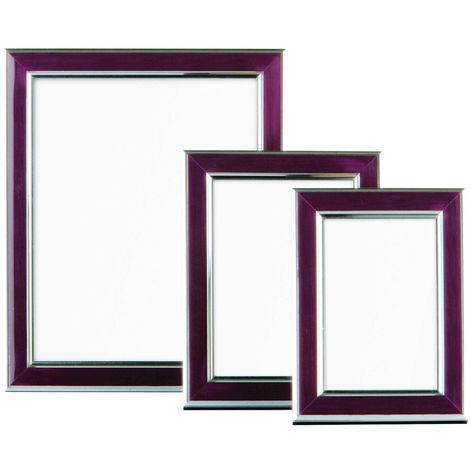 Photo frames, set of 3, purple and silver
