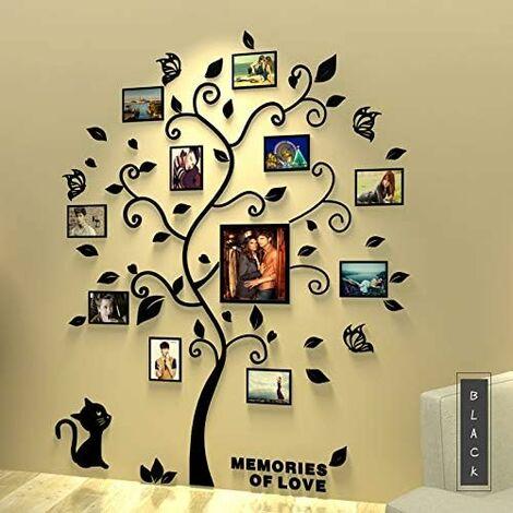 Photo Stickers Autocollants Muraux Amovibles 3D Acrylique Arbre avec des Branches Incurvées et des Cadres de Photo(Feulles noires)