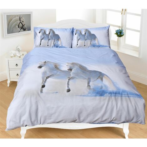 """main image of """"Photographic Horses King Quilt Duvet Cover & 2 P/case White Bedding Bed Set New"""""""