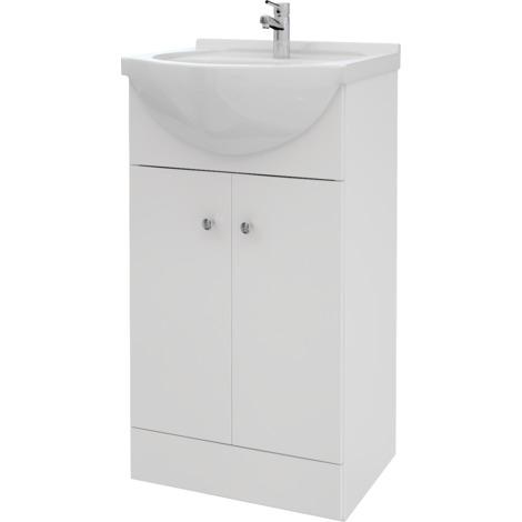 Piano Bad Waschtisch Unterschrank 45 cm Weiss Hochglanz 2-t |rig ...