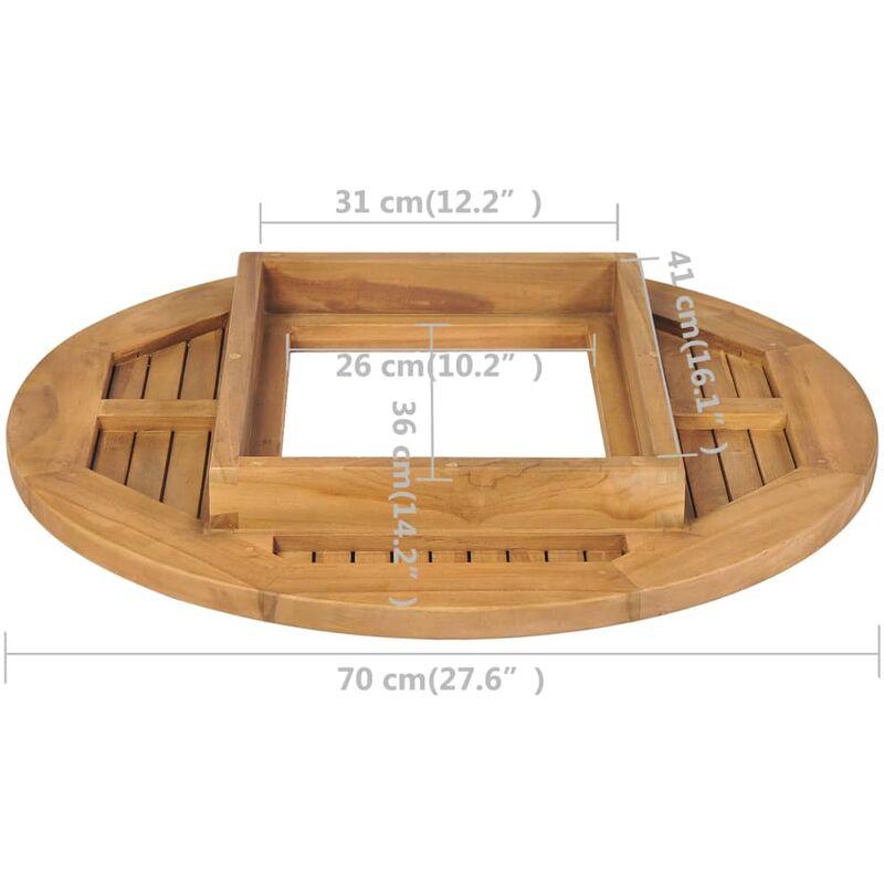 Piano Tavolo per Cassa di Birra in Legno di Teak 70 cm