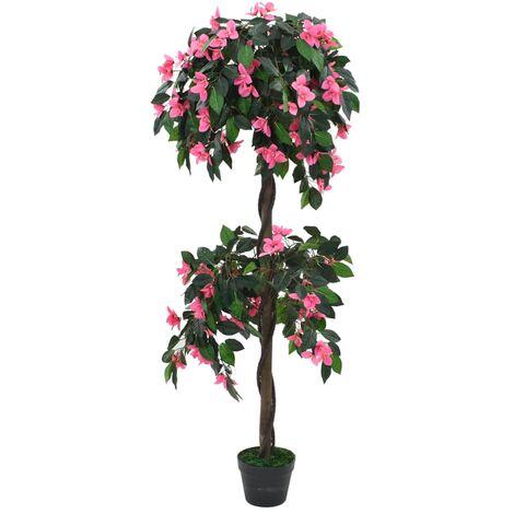Pianta Artificiale di Rododendro con Vaso 155 cm Verde e Rosa
