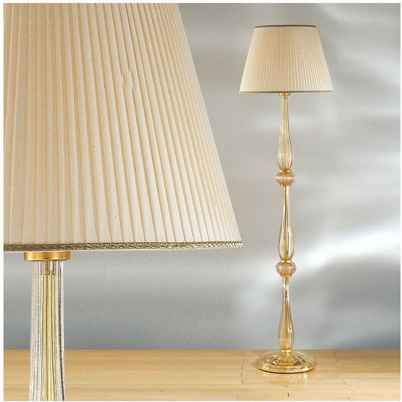Piantana dp 2327 e27 53w vetro murano lampada terra classica paralume tessuto interno