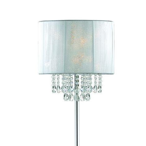 Lampadario Gocce Cristallo Moderni.Piantana Id Opera Pt1 E27 Pvc Paralume Cilindro Lampada Terra Bianco