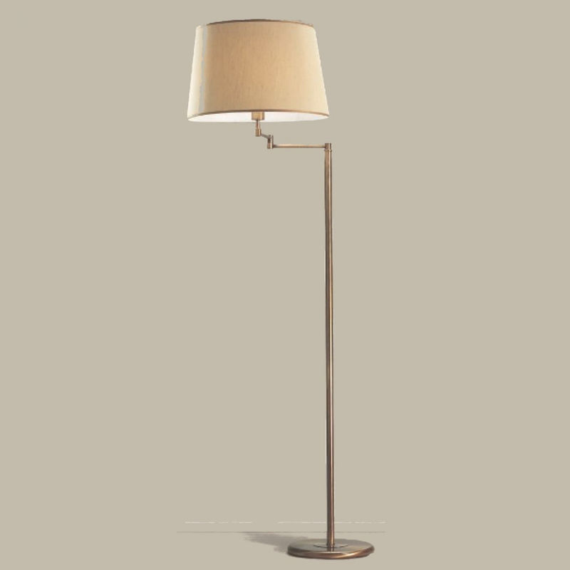 Piantana lm-6990 e27 led orientabile classica metallo ottone brunito paralume tessuto lampada terra interni