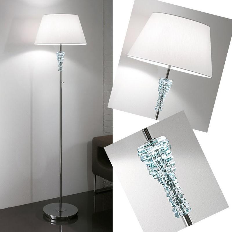 Piantana lm-cristal 9200 1p e27 led paralume ignifugo cristallo trasparente metallo lampada tavolo moderna interni, paralume bianco