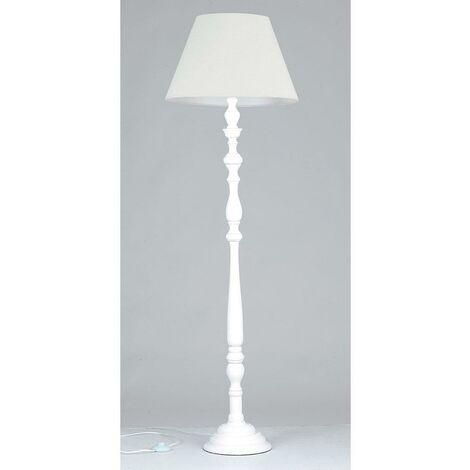 Lampade Da Terra In Legno.Piantana Paralume Cotone Bianco Fusto Legno Bianco Lampada Da