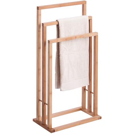 Porta Asciugamani In Legno.Piantana Portasciugamani In Legno Di Bamboo