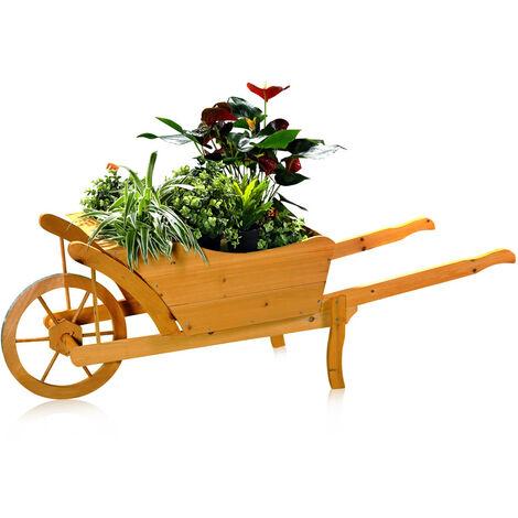 piantare giardino carriola legno piantare attraverso il vaso di fiori carrello