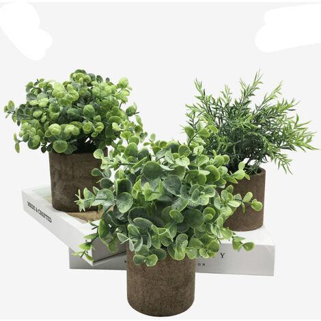 Piante artificiali Set 3 pezzi, piante verdi artificiali, decorazione artificiale fiore, piante in vaso, casa Bonsai finestra decorazione