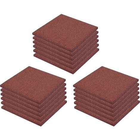 Piastrelle Anticaduta 18 pz in Gomma 50x50x3 cm Rosse