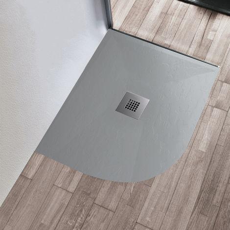 Piatto doccia 70x90 90x70 80x100 100x80 grigio chiaro ardesia mineral marmo semicircolare tondo rettangolare 3cm
