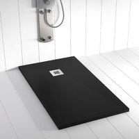 Piatto doccia ardesia pietra PLES 80x70 cm - Nero
