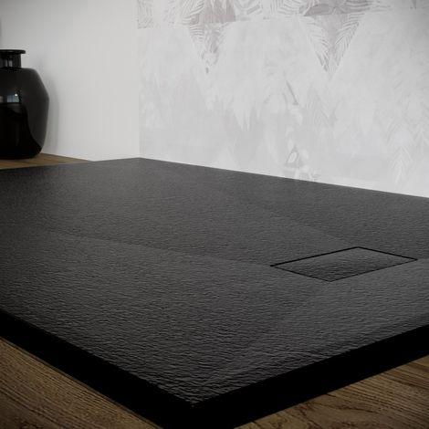 Piatto doccia effetto pietra ardesia stone smc piletta inclusa 80X160 Euclide spessore 2,6 cm