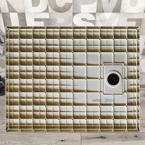 Piatto doccia effetto pietra ardesia stone smc piletta inclusa 90X90 Euclide spessore 2,6 cm