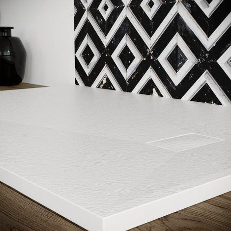 Piatto doccia effetto pietra smc resina piletta inclusa 90X120 bianco spessore 2,6 cm. Euclide