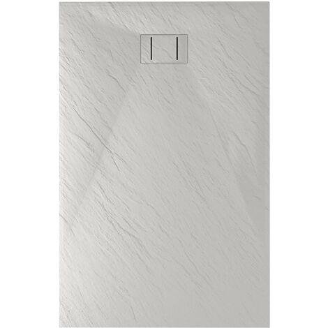 Piatto doccia effetto pietra ultraslim antracite h 2,6 cm smc quadrato rettangolare semicircolare ribassato resina ardesia mod. Blend