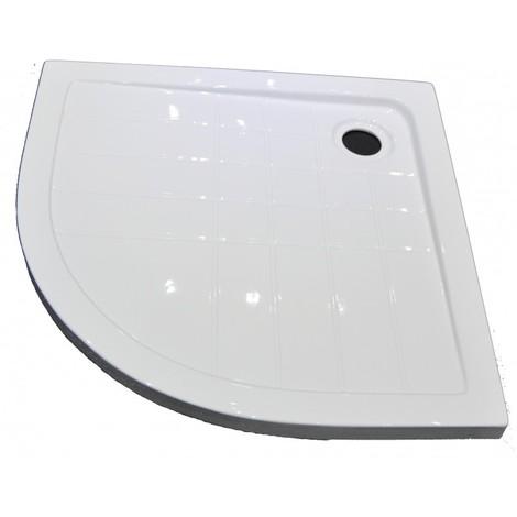 Piatto doccia in Acrilico bianco semicircolare 100x100 cm altezza 5,5cm disegno antiscivolo