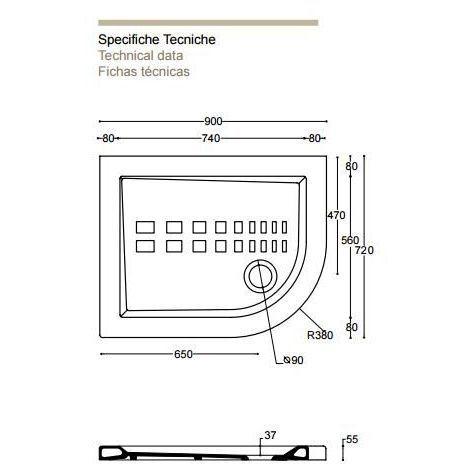 Piatto doccia ito in ceramica althea (Semicircolare asimmetrico 72x90) - Misura: 72 x 90 x h5.5 - Curva a destra