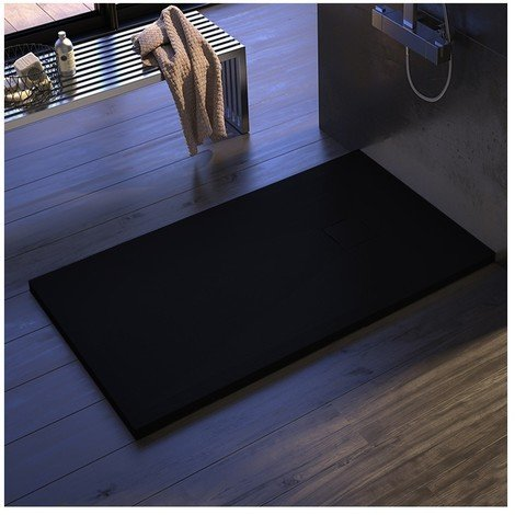 Piatto doccia marmo pietra hide resina ardesia nero griglia in tinta