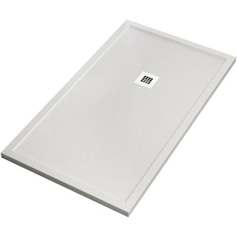 Piatto doccia marmo resina ardesia bianco con bordo 5cm
