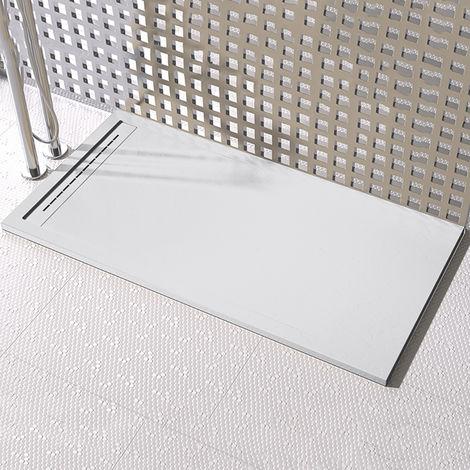 piatto doccia pietra grid ardesia griglia laterale bianco mineral marmo 3cm