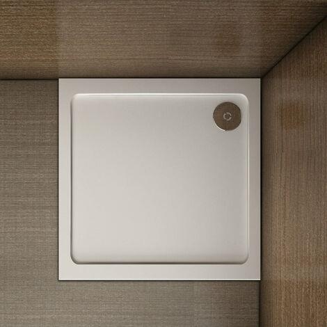 Piatto Doccia Quadrangolare Ultra Sottile 3cm Solido Antiscivolo In Marmo Minerale e Resina Mista Bianco Lucido
