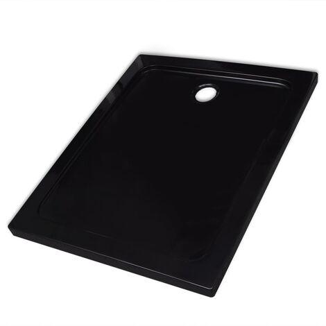 Piatto doccia rettangolare in ABS nero 80 x 100 cm