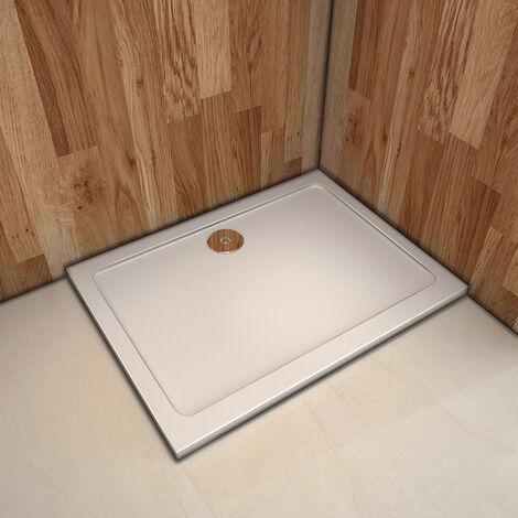 """main image of """"Piatto Doccia Ultra Sottile 3cm Solido Antiscivolo In Marmo Minerale e Resina Mista Bianco Lucido"""""""