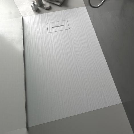 Piatto doccia rettangolare in marmoresina effetto legno Bianco ultraslim h 3,5 cm