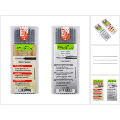 Pica DRY Mines de rechange Multi-Use solubles à l'eau 10 pcs + Mines de rechange graphite dureté spéciale H 10 pcs