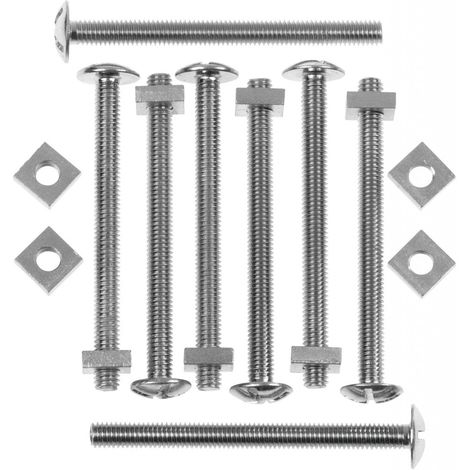 Picardy Zinc Plated Roofing Bolts With Nuts M6x25mm Box 100