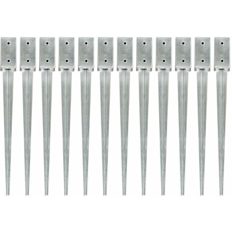 Picas de tierra 12 uds acero galvanizado plateado 7x7x75 cm