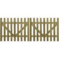 Picket Fence Gate 2 pcs 300x120 cm FSC Impregnated Wood