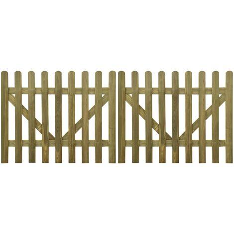 Picket Fence Gate 2 pcs Impregnated Wood 300x120 cm