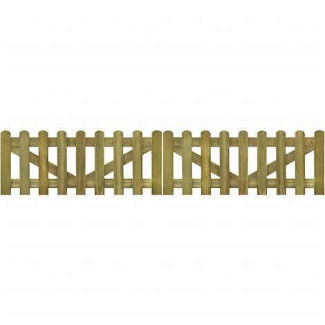 Picket Fence Gate 2 pcs Impregnated Wood 300x60 cm