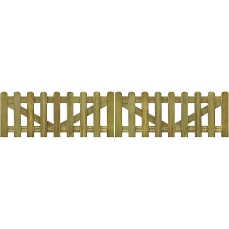 Picket Fence Gate 2 pcs Impregnated Wood 300x60 cm