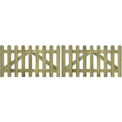 Picket Fence Gate 2 pcs Impregnated Wood 300x80 cm