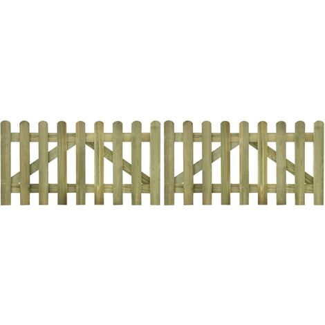 Picket Fence Gate 2 pcs Impregnated Wood 300x80 cm