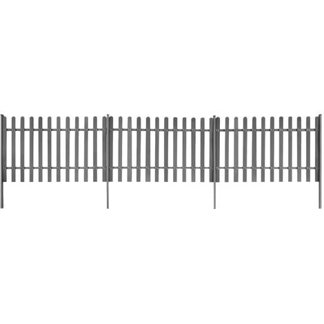 Picket Fence with Posts 3 pcs WPC 600x100 cm