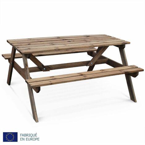 Picknicktisch aus Holz 150cm - PADANO - Rechteckiger Gartentisch mit Bänken aus FSC-Kiefer