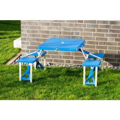 Picnic bench, blue plastic, foldable