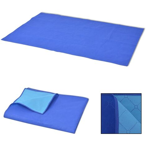 Picnic Blanket Blue and Light Blue 100x150 cm - Multicolour