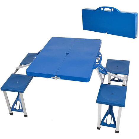 Picnic Camping Table Bench Seat Outdoor Portable Folding 4-Seats Blue