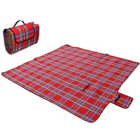 Picnic couverture tapis camping pique-nique voyage plage sable rouge 200x200 cm