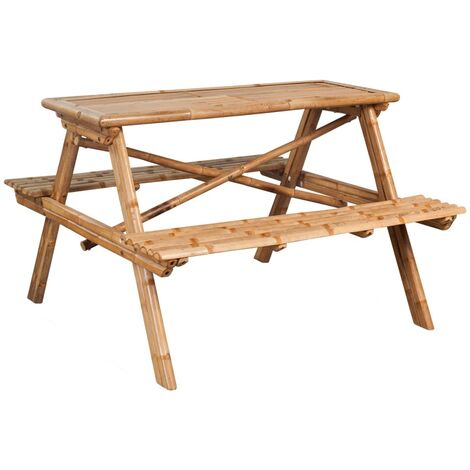 Picnic Table 120x120x78 cm Bamboo - Brown