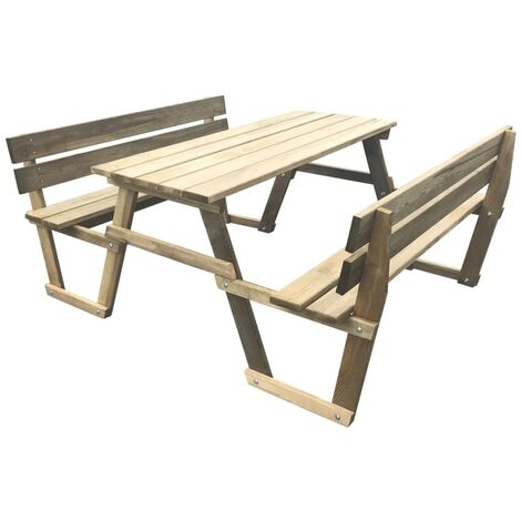 Picnic Table with Benches 150x184x80 cm Impregnated Pinewood