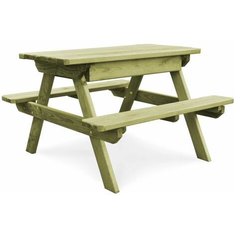 Picnic Table with Benches 90x90x58 cm Impregnated Pinewood