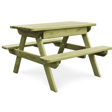 Picnic Table with Benches 90x90x58 cm Impregnated Pinewood - Green