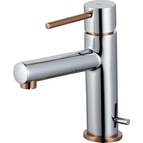 Picolo mitigeur lave mains chrome et cuivre eau chaude et froide - Chromé